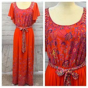 Maeve Anthropologie Coral Orange Sheer Maxi Dress